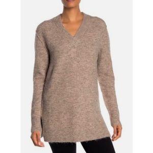 NWT M Magaschoni V-Neck Fringe Knit Tan Sweater XS